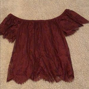 Maroon lace off the shoulder shirt